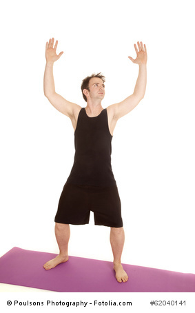 man stretching chest