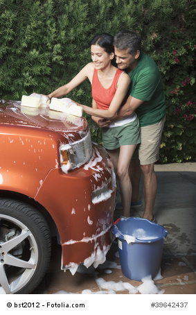 Washing car together